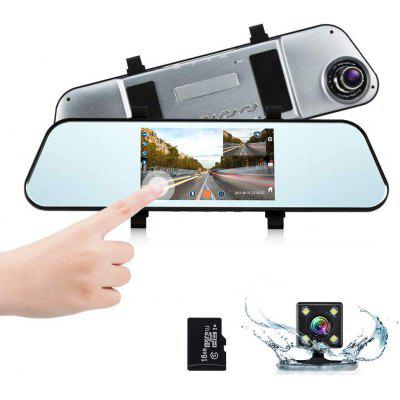 Mirror Dash Cam 1080P Car Camera with 5 Inch Touch Screen Monitoring Night Vision