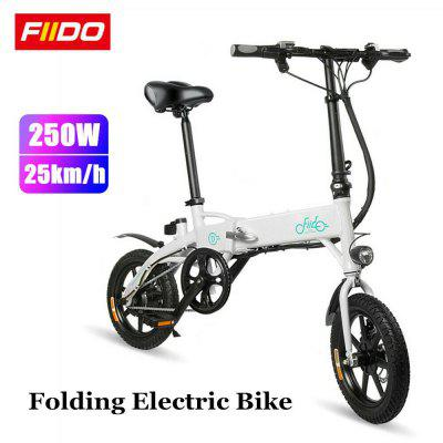 Electric Bike Moped Bicycle E-bike Folding Foldable-FIIDO D1 Black 8AH with EU Charger for Outdoors Image