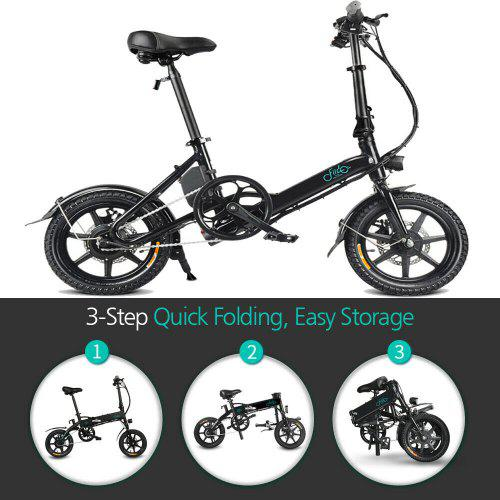 Electric Bike Moped Bicycle E-bike Folding Foldable-FIIDO D1 Black 8AH with EU Charger for Outdoors