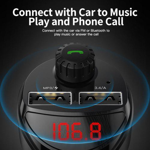 KUULAA Car phone Charger with FM Transmitter MP3 Player TF Card  Charger USB car charger