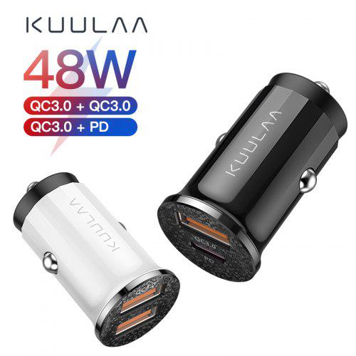 KUULAA Quick car Charge 4.0 48W QC PD 3.0 Car Charger Mobile Phone USB Charger