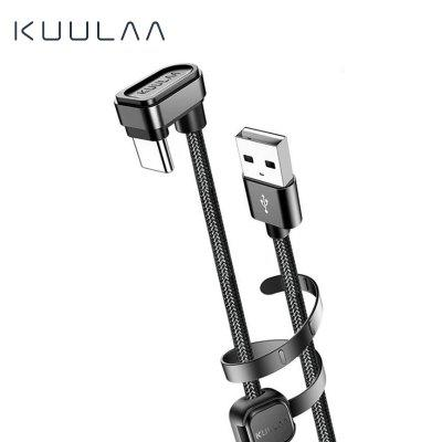 KUULAA Nylon USB Type-C Cable 180 Degree Fast Charger Mobile game elbow data line