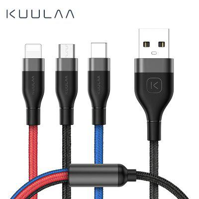 KUULAA 3 in 1 USB Cable For Mobile Phone Micro USB Type C Charger Cable