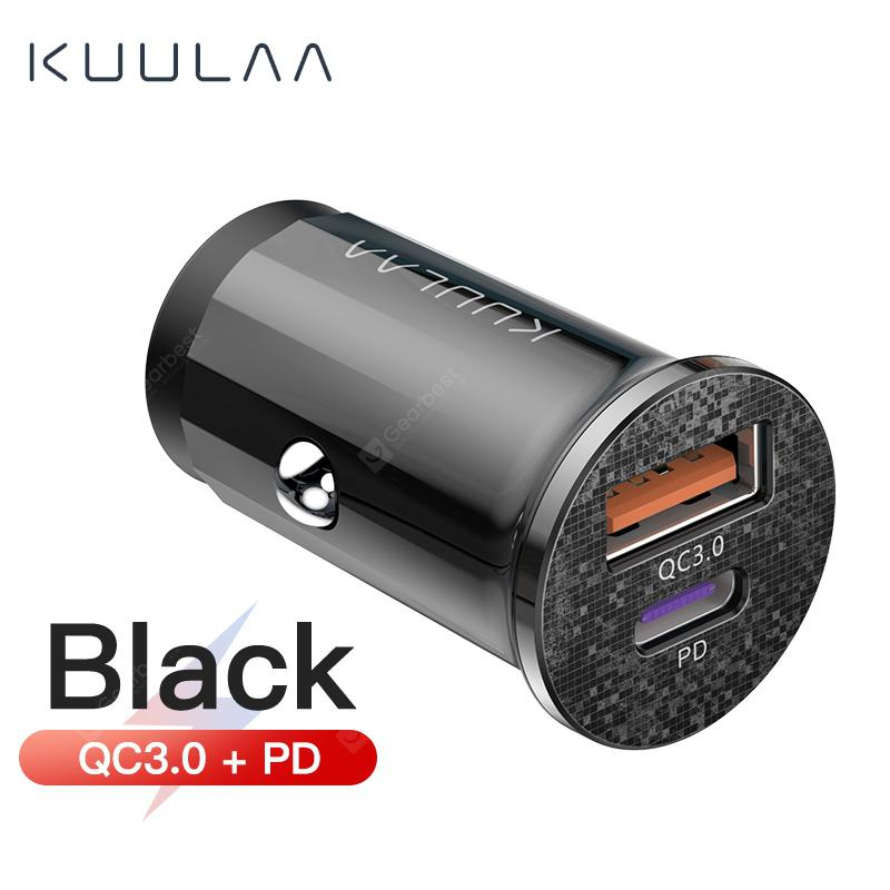 KUULAA Quick car Charge 4.0 48W QC PD 3.0 Car Charger Mobile Phone USB Charger - Black QC-PD