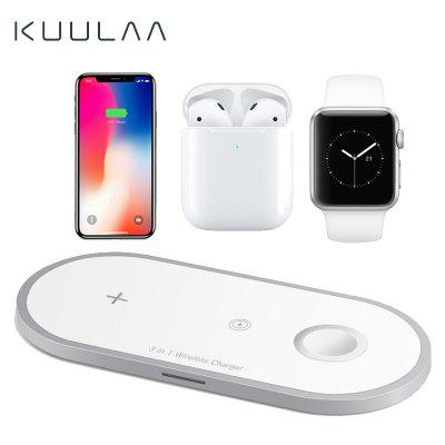 KUULAA 3 in 1 Qi Wireless Charger For pad Airpods Apple iWatch iphone Fast Wireless Charging