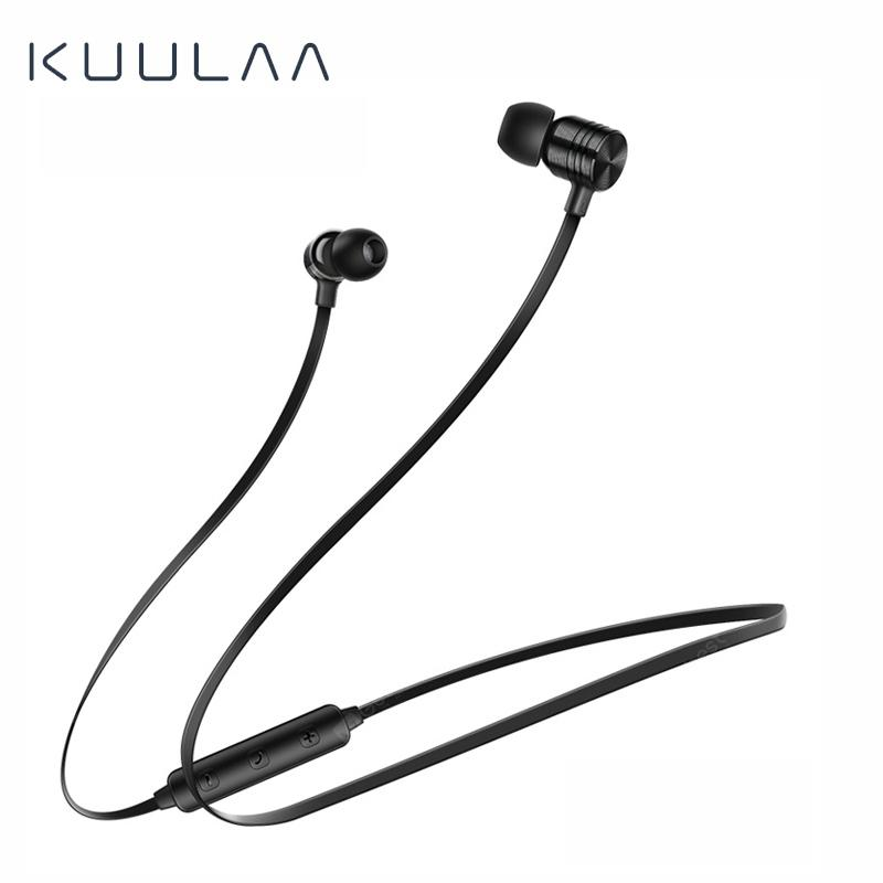 KUULAA Bluetooth Earphone Wireless Headphone Neckband Sport Handsfree Earbud Bluetooth 5.0 - Black