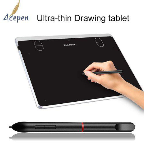 Acepen AP604 Drawing Tablet 6 x 4 Inch Digital Graphics Tablet 8192 Pressure Use on Windows Mac Os - Silver China