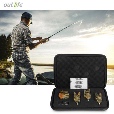 Wireless Camouflage Fishing Bite Alarm Set with Receiver Case