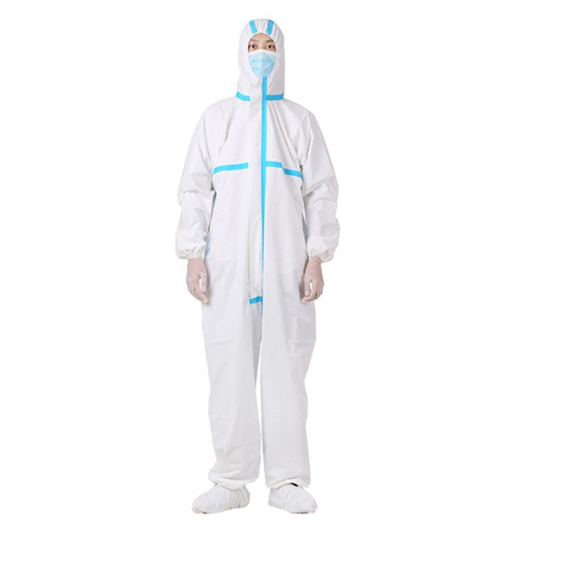 Medical Protective Suit Clothing Disposable Dust-proof Defence Against Viral Health Infection -L - 180 White blue