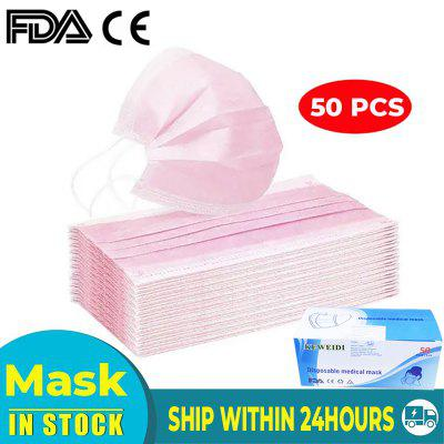 50 Pcs Pink Face Mask Prevent Saliva Dust Breathable Earloop Face Mask Anti-virus Thick 3-Layer