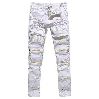 Ripped Jeans it Motorcycle Jeans With Zipper Denim Jeans Pants for Men