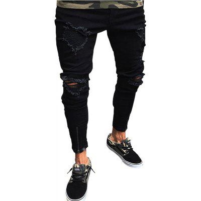 Skinny Slim Fit Straight Ripped Destroyed Distressed Zipper Stretch Knee Patch Pants Jeans