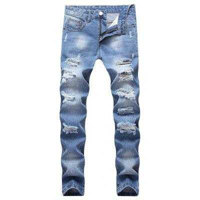 Straight Skinny Ripped Holes Jeans Denim Pants for Men Party Streetwear Fashion Casual Biker Jeans