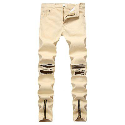 Street Fashion Hiphops Knee Hole Stretch Denim pants Ripped Skinny Bottom zipper biker Jeans for Men