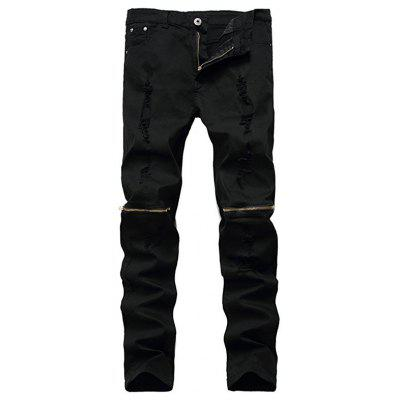 Ripped Skinny Distressed Destroyed Slim Fit Jeans Pencil Pants with Zipper on Knees for Men