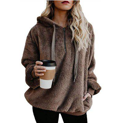 Womens Sherpa Loose Hoodies Zip Winter Slouchy Warm Fleece Sweatshirts Outwear Pockets
