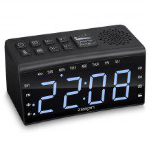 RA002 Digital radioklokke Dual Alarms Temperatur Snooze Time 6,5-tommers LED-skjerm US Plug