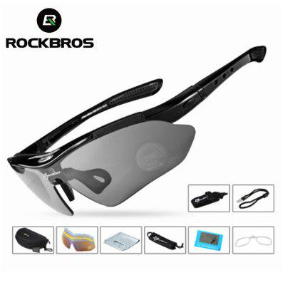 RockBros Polarized Cycling Sun Glasses Outdoor Sports Bicycle Glasses Men Goggles Eyewear 5 lense