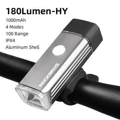 ROCKBROS Bike Light Rainproof USB Rechargeable Light LED MTB Front Lamp Headlight 180Lumen