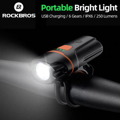 ROCKBROS Bicycle Front Rechargeable Light Cycling Bike Flashlight Waterproof Headlight Bicycle Lamp