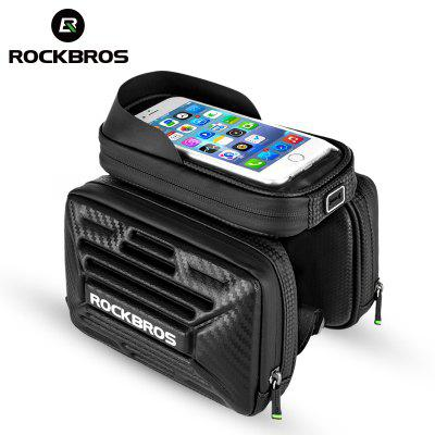 ROCKBROS Bicycle Bag Carbon Pattern Touch Screen Bike Phone Bag MTB Road Tube Bag Saddle Bag