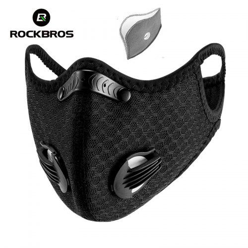Rockbros Anti-Dust Bicycle Face Mask Active Carbon Breathing Valve Protective Masks with KN95 Filter