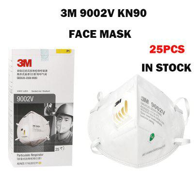 25PCS 3M 9002V KN90 Face Mask KN90 PM2.5 Mask Elastic Ear-loop and Adjustable Noseclip Dust Proof