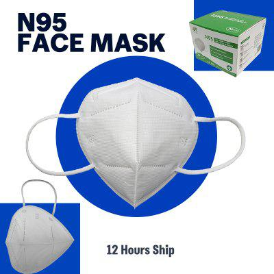 20PCS 4 Ply N95 Face Mask with Ear Loop CE Approved PM2.5 Block Dust Pollen Virus Non-woven Fabric