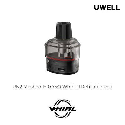 Uwell Whirl T1 Pod Cartridge 3ml with UN2 Meshed-H 0.75ohm Coil 14-16W Mode Slide Block to Adjust Airflow Vape E-cigarette 2pcs/Pack