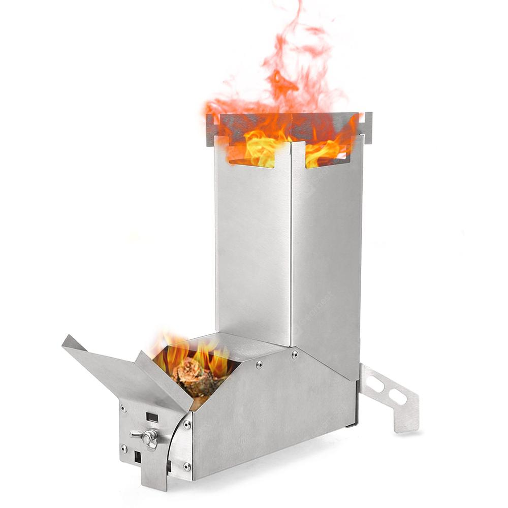 Outdoor Collapsible Wood Burning Stainless Steel Rocket Stove Backpacking UK