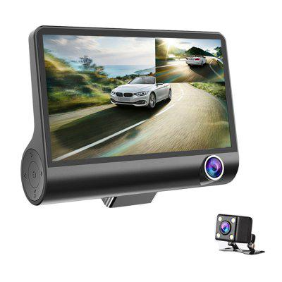 Car DVR Camera 4.0in 3 Way Lens Video Driving Recorder Rear View Auto Registrator With 2 Cameras Dash Cam DVRS Carcorder Night Vision Parking Monitor Image