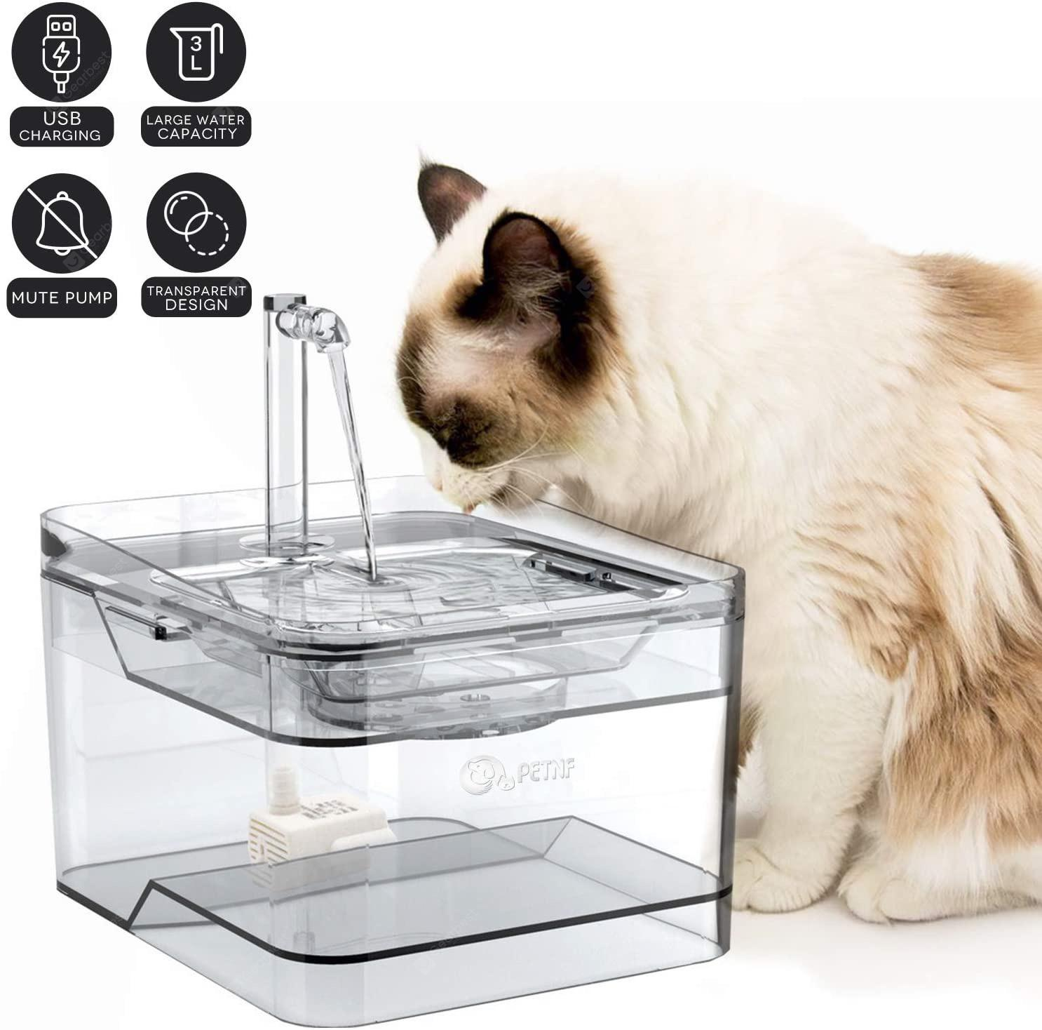 PETNF 2020 Upgraded Cat Fountain Dog Cat Water Fountain 100oz 3L Automatic Ultra Quiet - Transparent United States