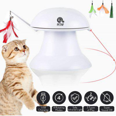 PETNF Cat Laser Toy Cat Toys Interactive 2 in 1 Automatic Cat Toy Moving Feather Toy