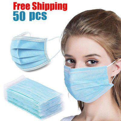 DHL TNT Free Shipping 50pcs Face Disposable mouth mask 3 Layer Dust Windproof -Factory Supply