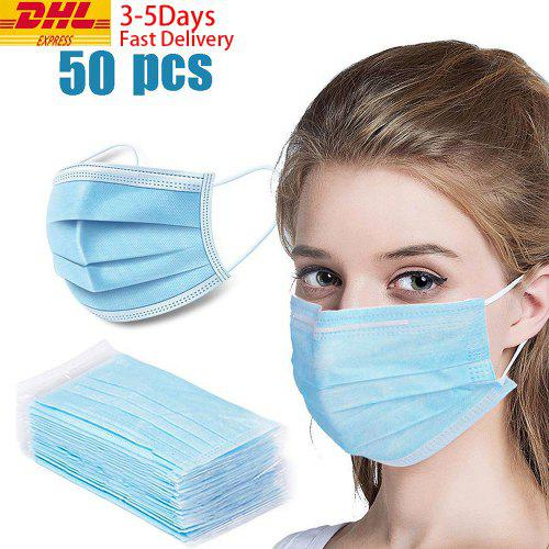 DHL Free Shipping 50pcs Medical Face Masks Anti Virus Anti Virus Disposable 3 Layer Anti-Bacteria - Light Blue Free shipping China
