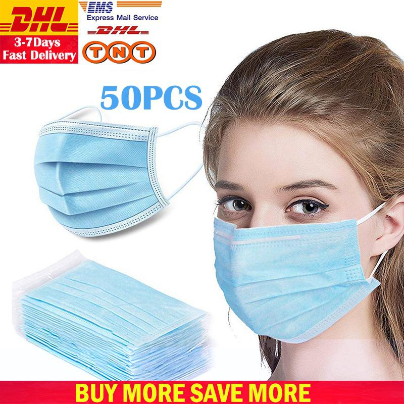 DHL TNT Free Shipping 50pcs Face Disposable mouth mask 3 Layer Cotton Dust Windproof -Factory Supply