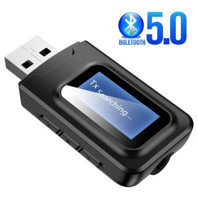 5.0 Bluetooth USB Dongle Audio Receiver Transmitter with LCD Display 2IN1 Mini 3.5mm Jack AUX USB Wireless Adapter for TV Car PC