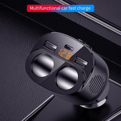 New 80W 12/24V QC3.0 Dual USB Car Charger Cigarette Lighter Adapter Socket Splitter 5 in 1 With Type-C