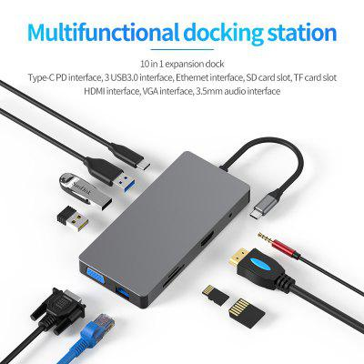 USB HUB C Docking Station Ethernet Adapter to Multi 3.0 HDMI Dock for MacBook Pro Accessories USB-C Type 3.1 Splitter 3 Port