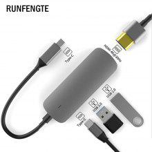 RUNFENGTE 4 in 1 Type-C Docking Station HDMI USB3.0 USB2.0 PD HUB Multifunctional Hub 4 in 1 Docking Station Converter
