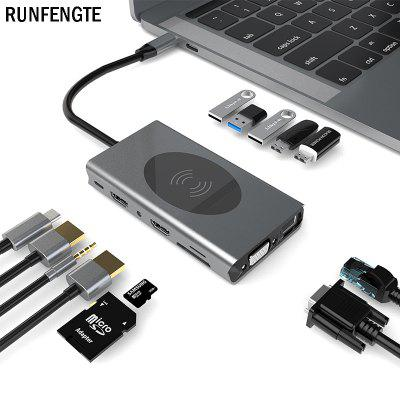 Runfengte USBハブ14 in 1ドッキングステーションワイヤレス充電タイプC多機能ドッキングステーションコンバータ7USB HDMIX2 4Kアダプタ