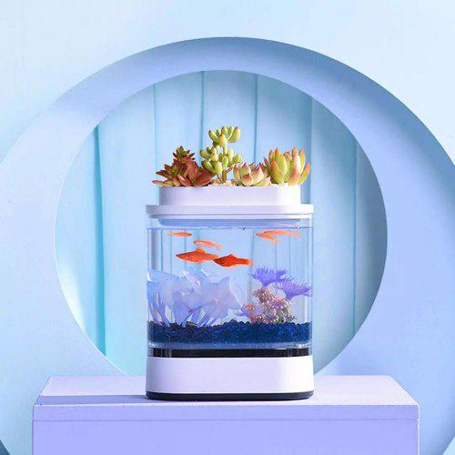 Xiaomi mijia Geometry Mini Lazy Fish Tank USB Charging Self-cleaning Aquarium