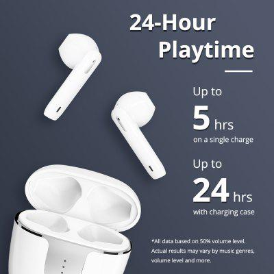TWS Bluetooth 5.0 Earphones with Qualcomm aptX WirelessEarbuds Noise Cancellation 4 Mic 24H Playtime