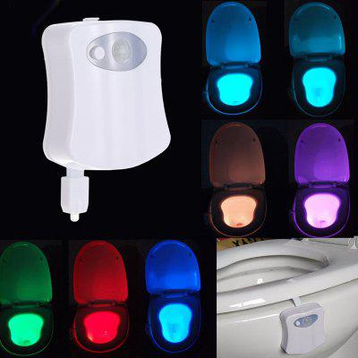 Smart Bathroom Toilet Night Light LED Body Motion Activated On Off Seat Sensor Lamp 8 Color