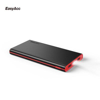 Slim 10000mAh Power Bank EasyAcc 5V 2 ports 3.1A Smart Output External Battery Pack With Flashlighting Portable Charger