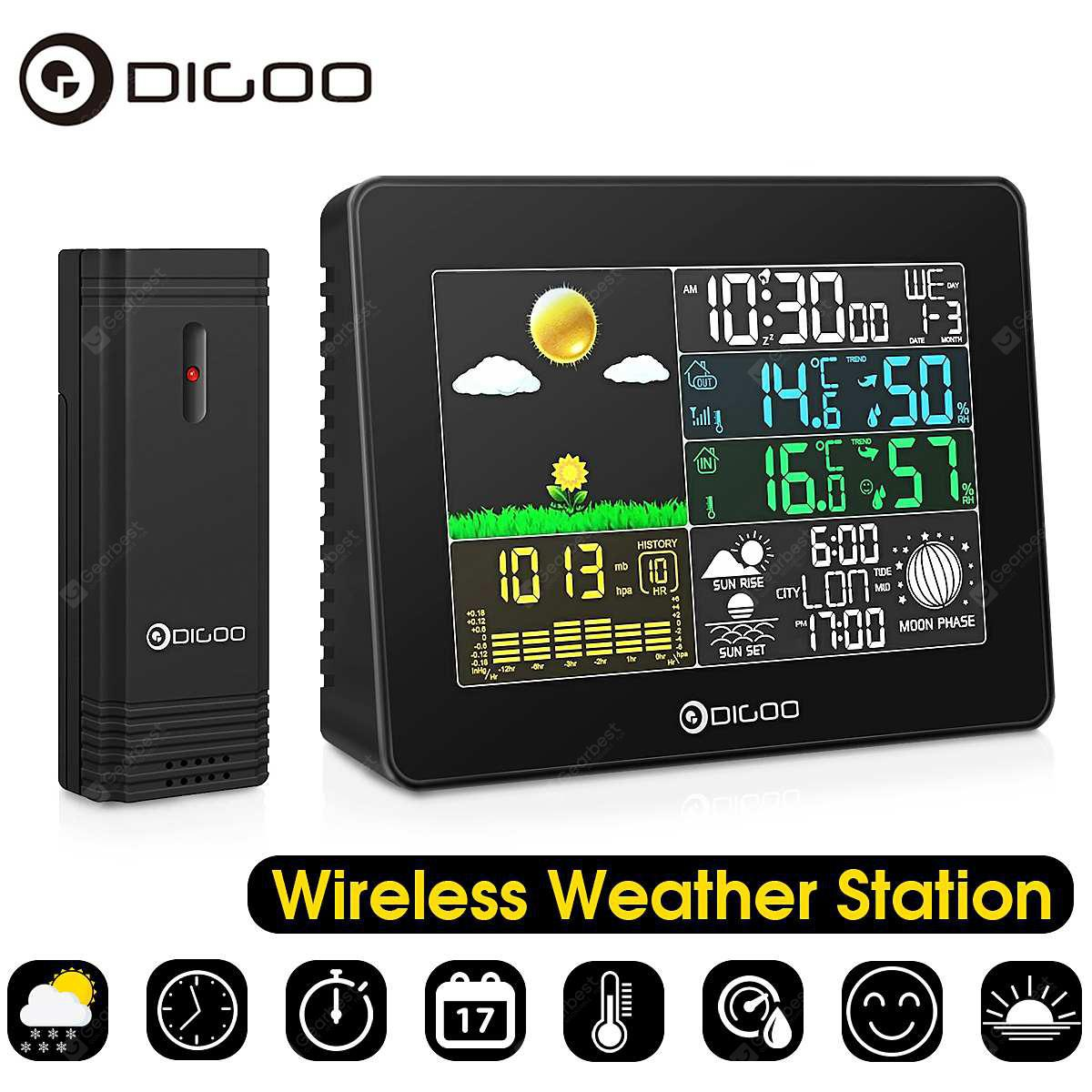 Digoo DG TH8868 Wireless Full Color Digital Barometric Weather Station  Outdoor Forecast Sensor Hygrometer Thermometer Clock