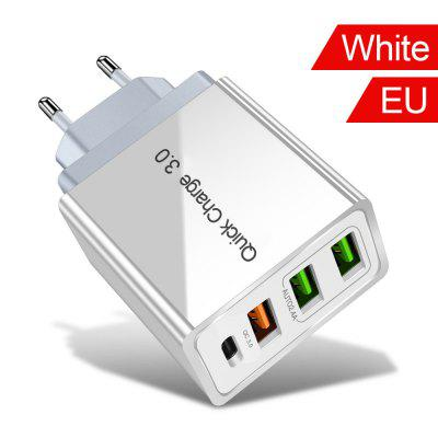 gocomma travel charger kit type c usb adapter 48W USB Quick Charge 3.0 PD Type C USB Charger for Samsung iPhone Tablet  QC 3.0 Fast Wall Charger US EU UK Plug Adapter
