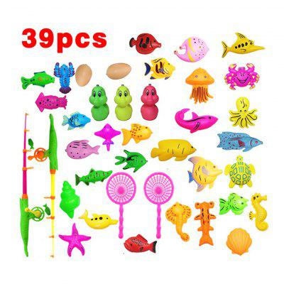 39Pcs Set Plastic Magnetic Fishing Toys Baby Bath Toy Fishing Game Kids 2 Poles 2 Nets 40 Magnet Fish Indoor Outdoor Fishing Toy