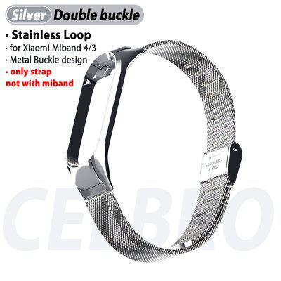 2020 Stainless Loop Metal Strap For Xiaomi Mi Band 4 3 Strap Metal Steel For Xiaomi MiBand 4 3 Band4 Band3 Bracelet Wristband