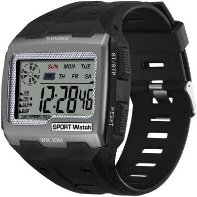 SYNOKE Mens Digital Watches Big Square Dial Alarm Week Shock Resistant  Repeater Chronograph Multifunction Sport Watch